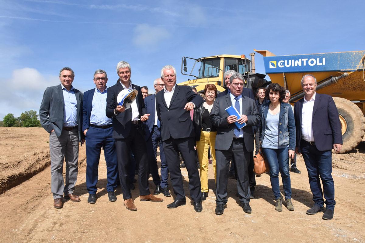 premiere pierre chantier rocade saint-flour avec Laurent Wauquiez