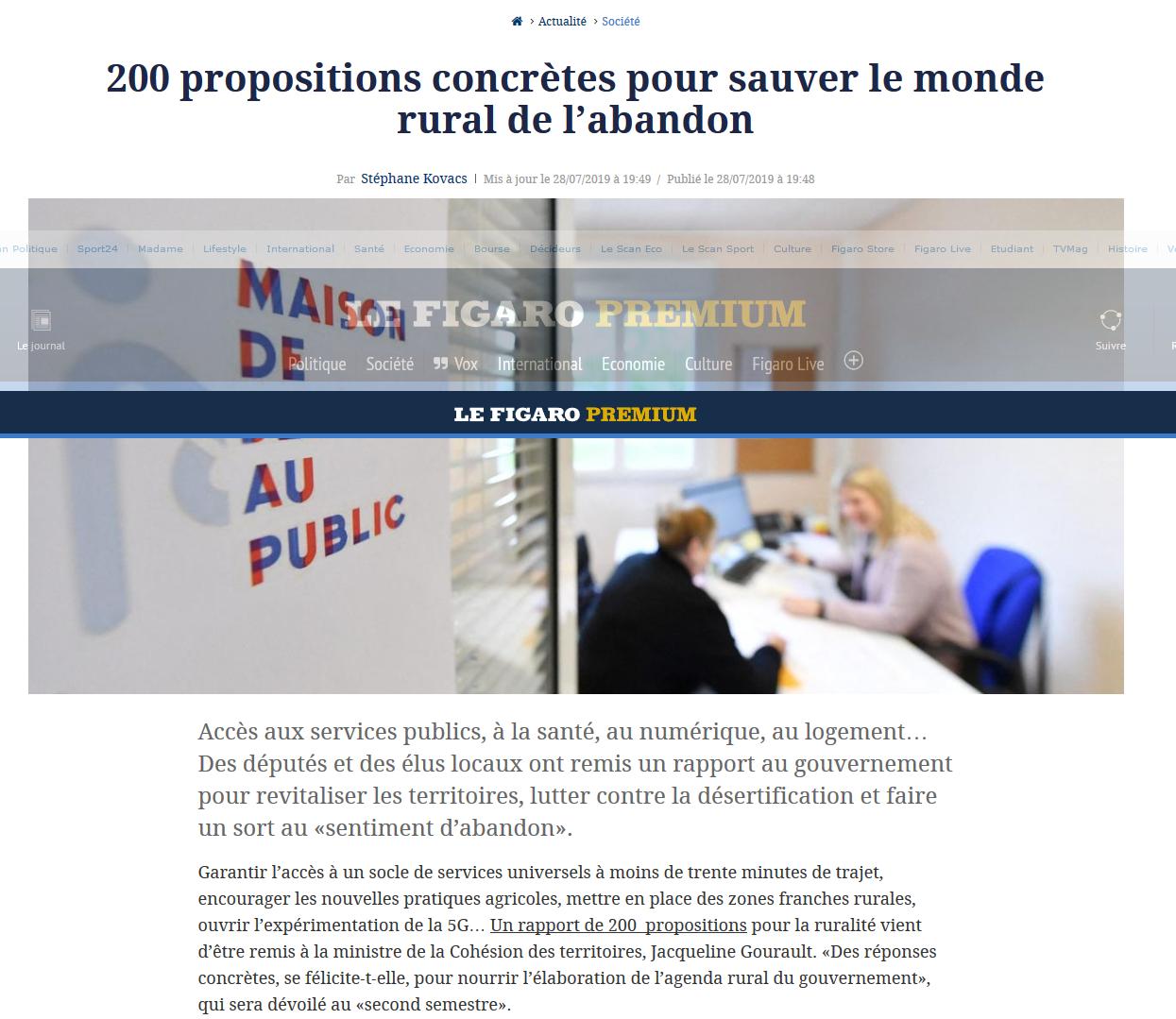 Figaro-2019-08-12-200 propositions concrètes pour sauver le monde rural de l'abandon