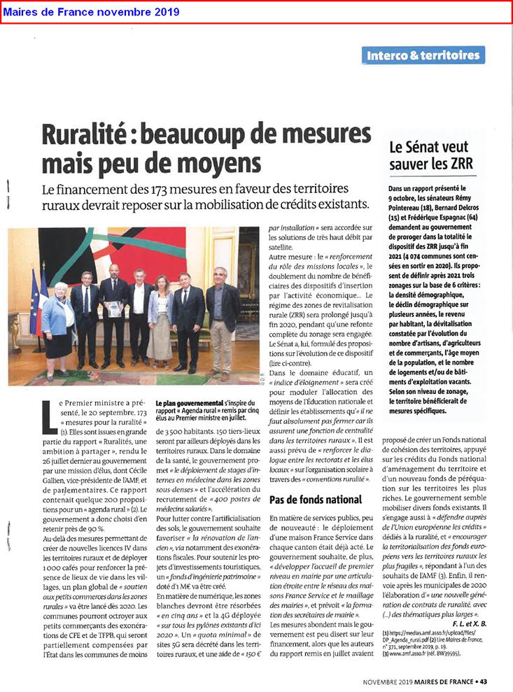 Ruralité beaucoup de mesures mais peu de moyens - Maires de France novembre 2019