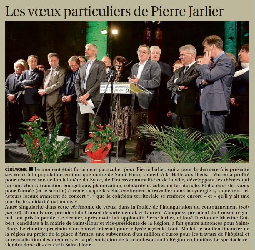 DERNIERE CEREMONIE DES VOEUX DE PIERRE JARLIER EN TANT QUE MAIRE - 20 JANV 2020VV